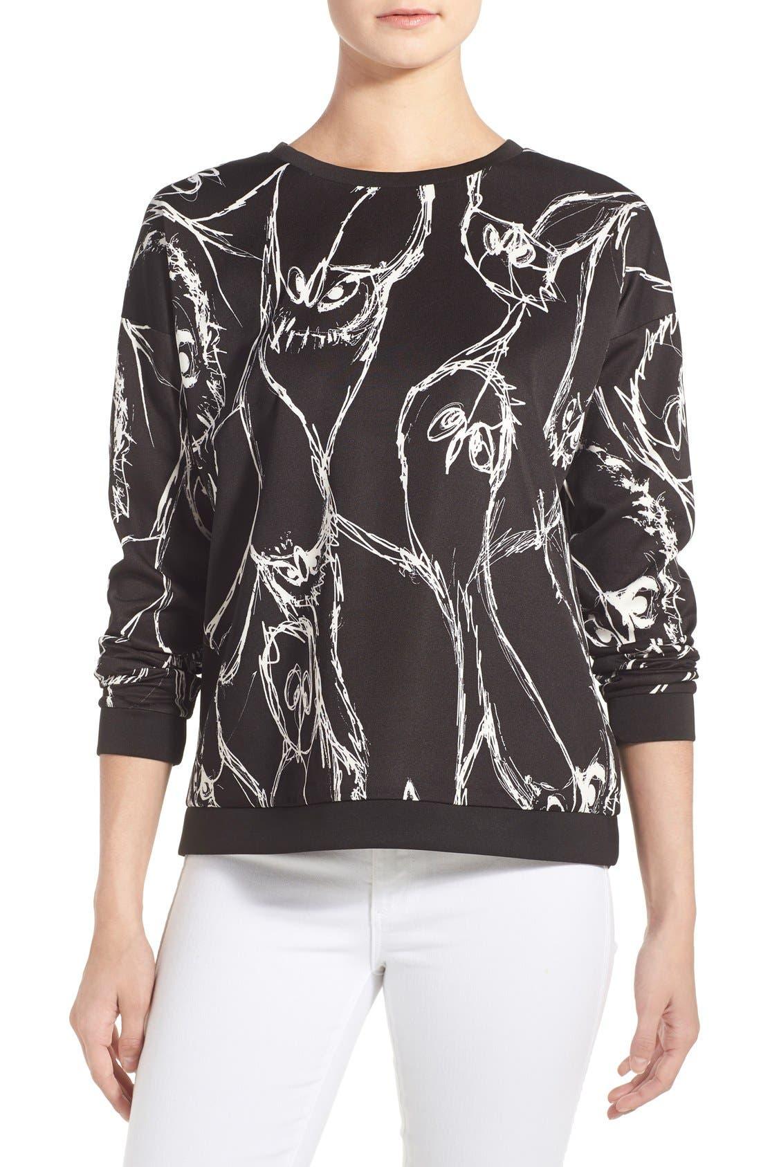 Alternate Image 1 Selected - kensie Sketched Bird Print Sweatshirt