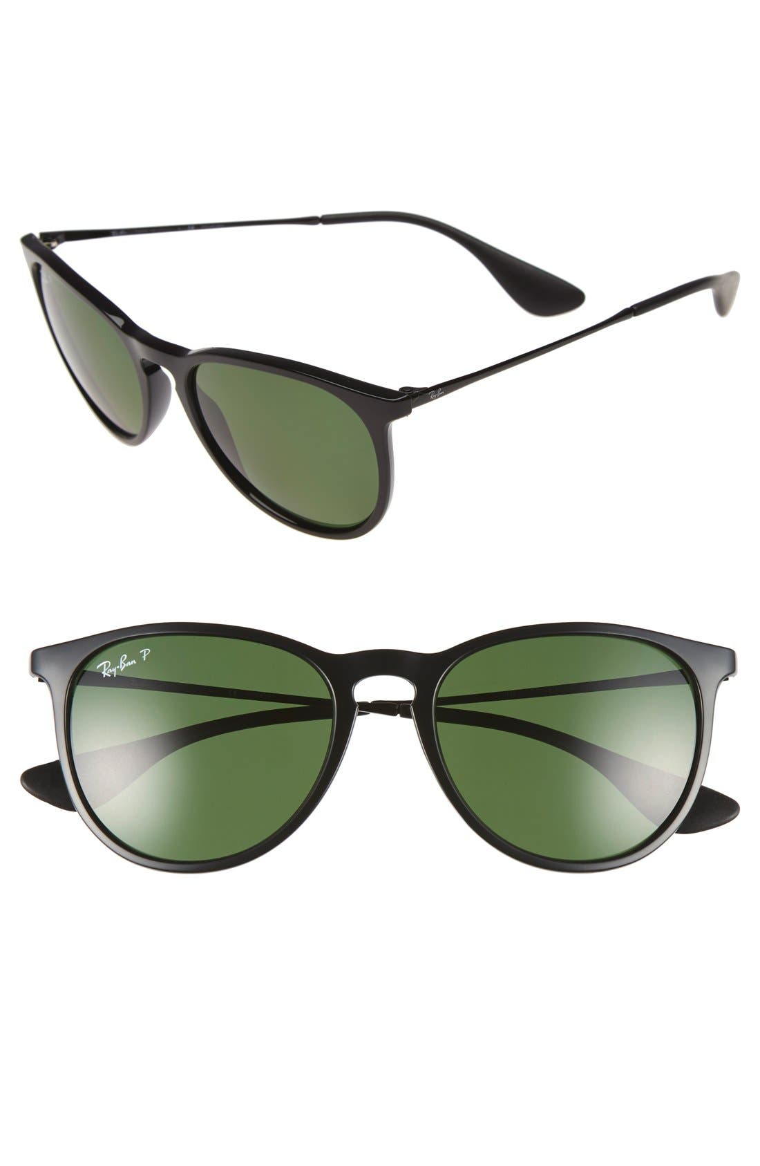 Erika Classic 54mm Sunglasses,                             Main thumbnail 1, color,                             Black/ Green