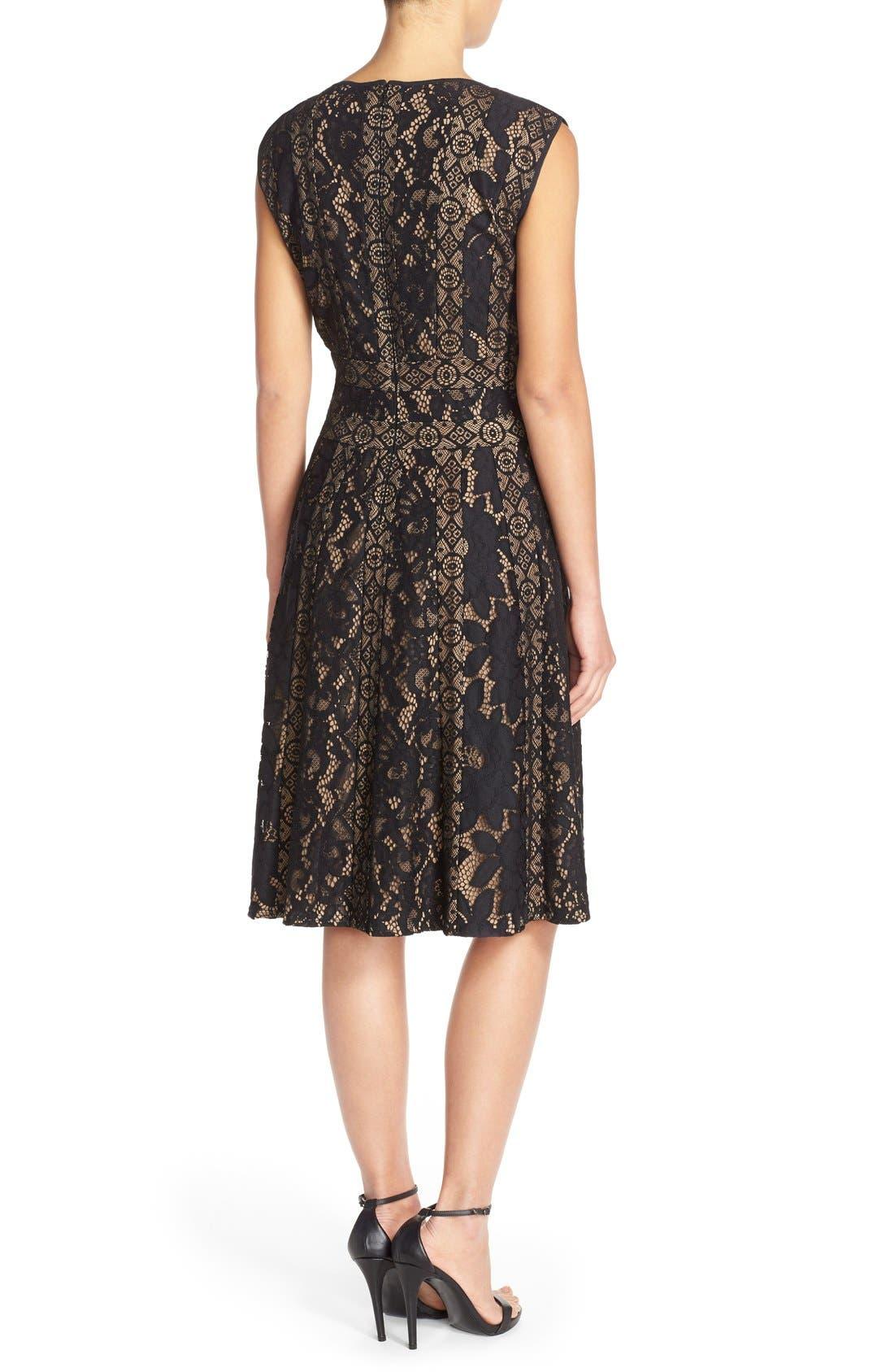 Alternate Image 2  - Tadashi Shoji Mixed Lace Fit & Flare Dress