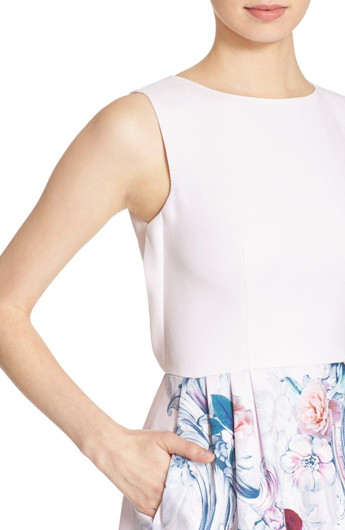 Alternate Image 4  - Ted Baker London 'Eilah' Acanthus Scroll Floral Print Fit & Flare Dress