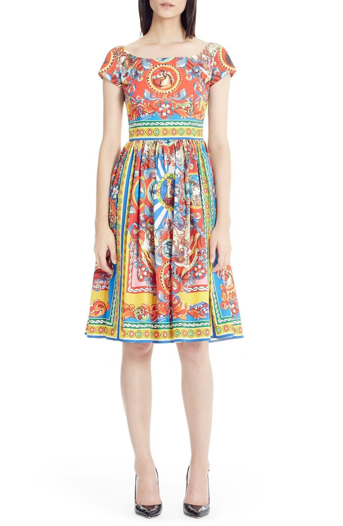 Main Image - Dolce&Gabbana Carretto Print Cotton Poplin Dress
