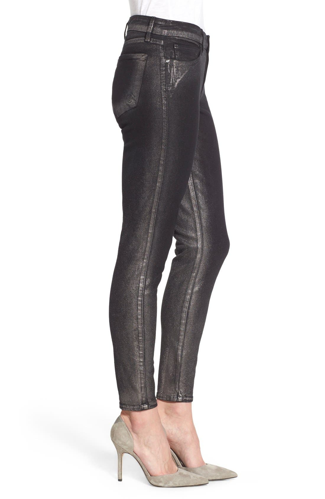 Alternate Image 3  - CJ by Cookie Johnson 'Wisdom' Brushed Foil Skinny Jeans (Pewter)