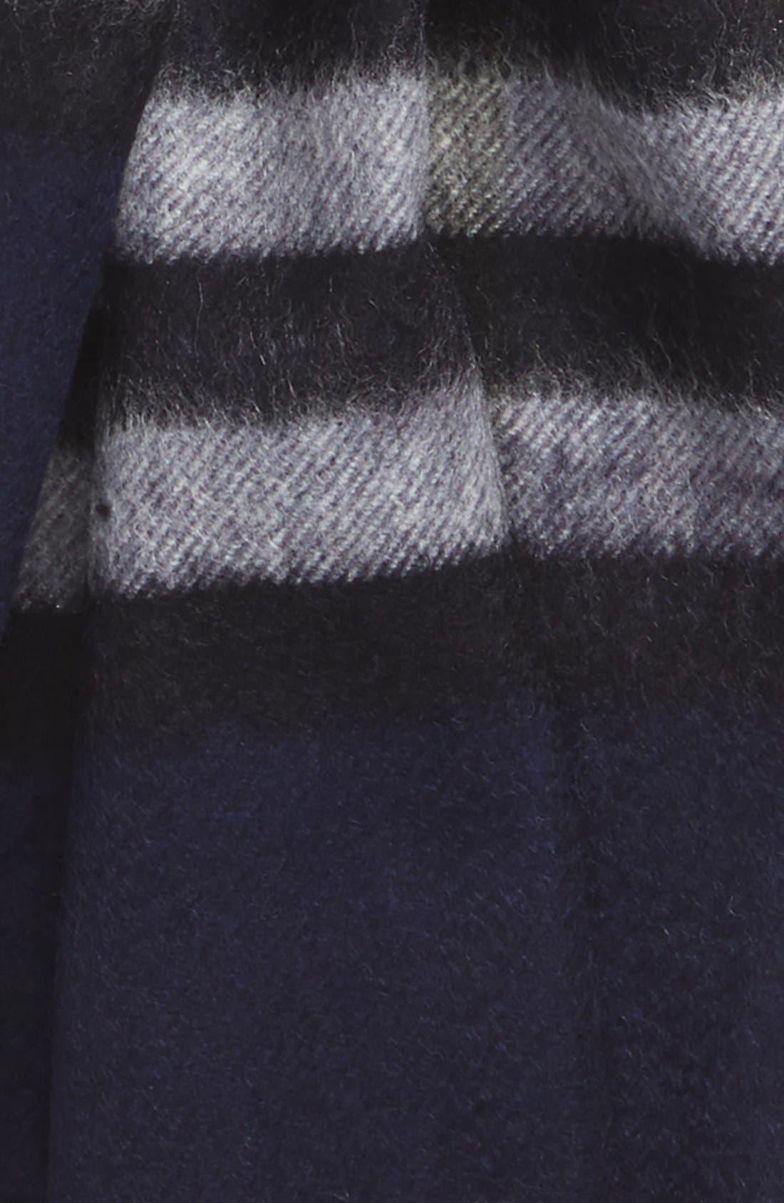'Giant Icon' Cashmere Scarf,                             Alternate thumbnail 3, color,                             Indigo Blue