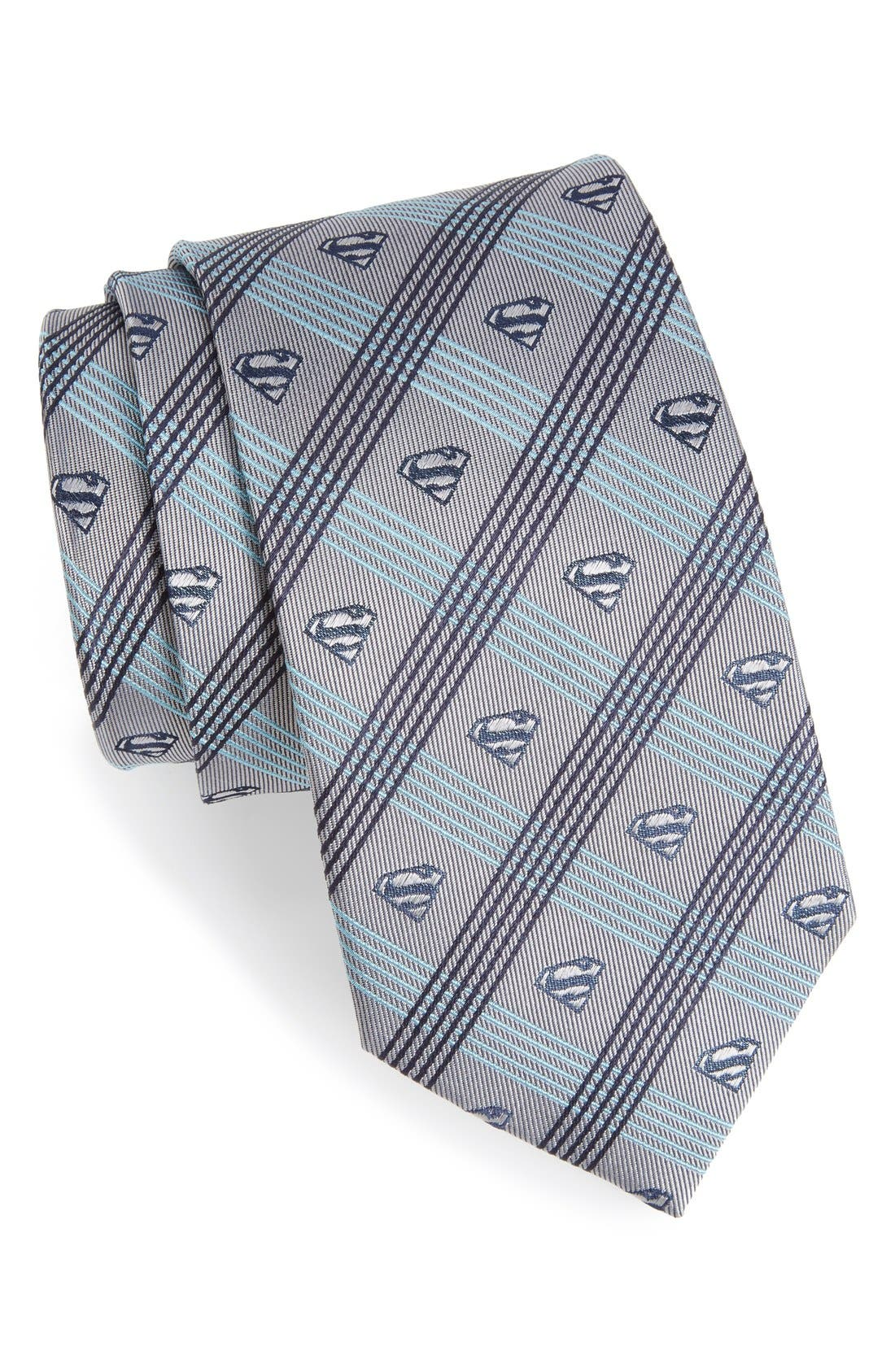'Superman' Plaid Silk Tie,                             Main thumbnail 1, color,                             Grey