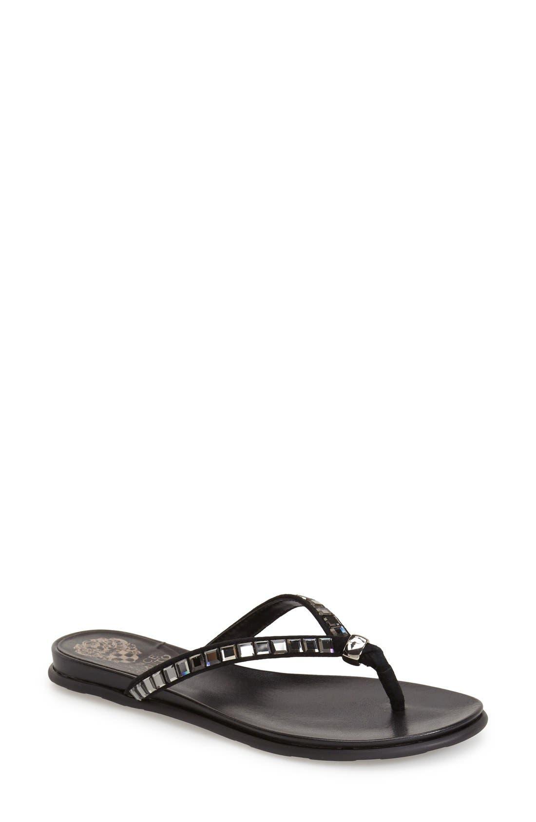 'Ellita' Flat Sandal,                             Main thumbnail 1, color,                             Black Leather