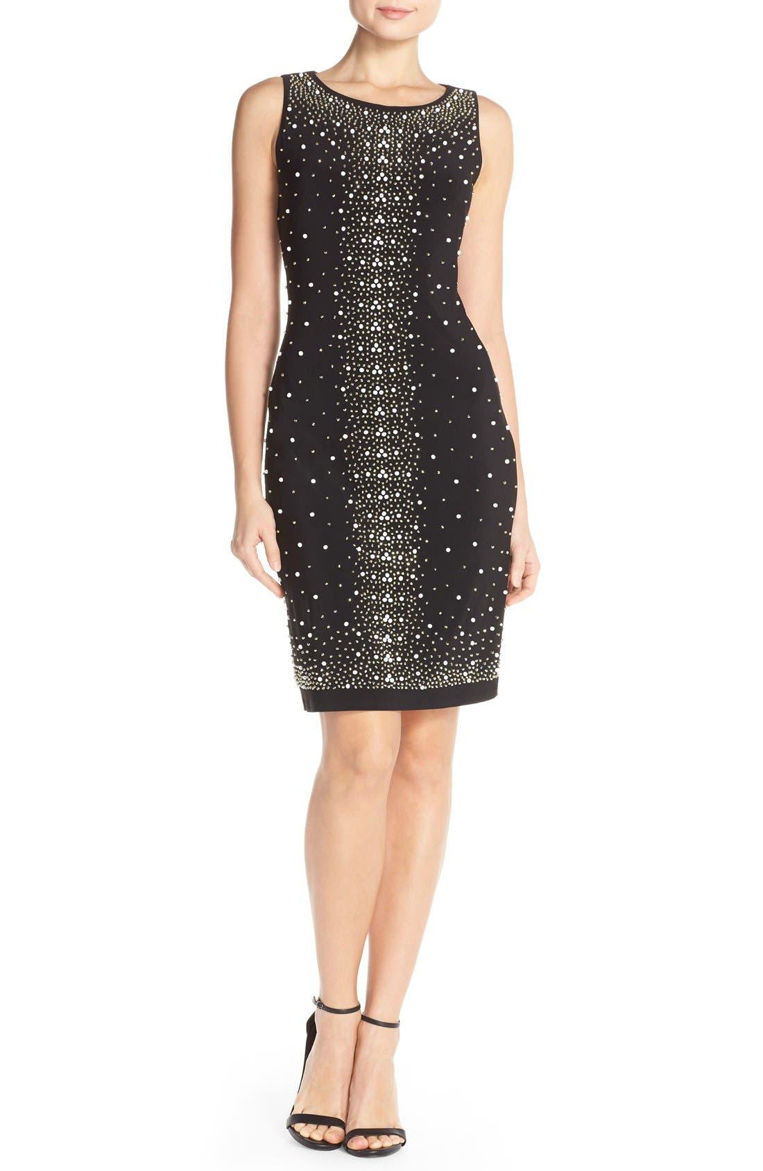 Main Image - Chetta B Placed Bead Sleeveless Party Dress