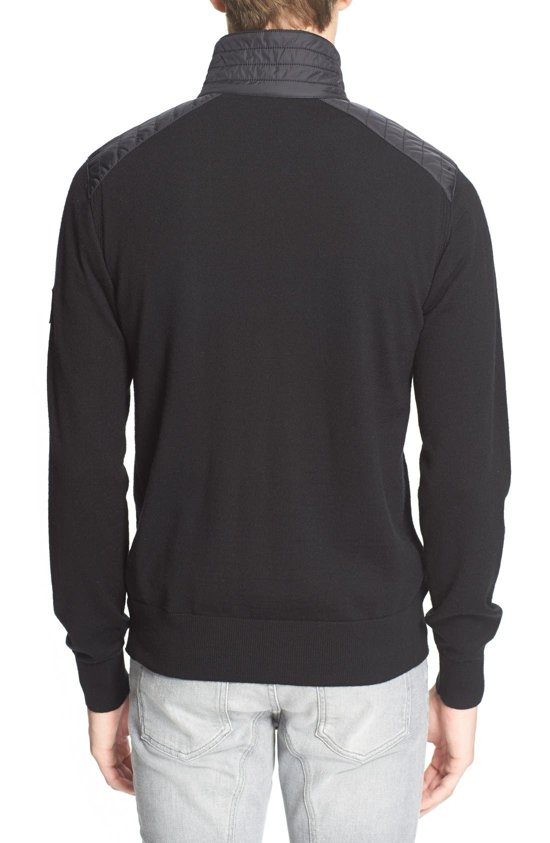 'Kelby' Full Zip Wool Sweater,                             Alternate thumbnail 2, color,                             Black