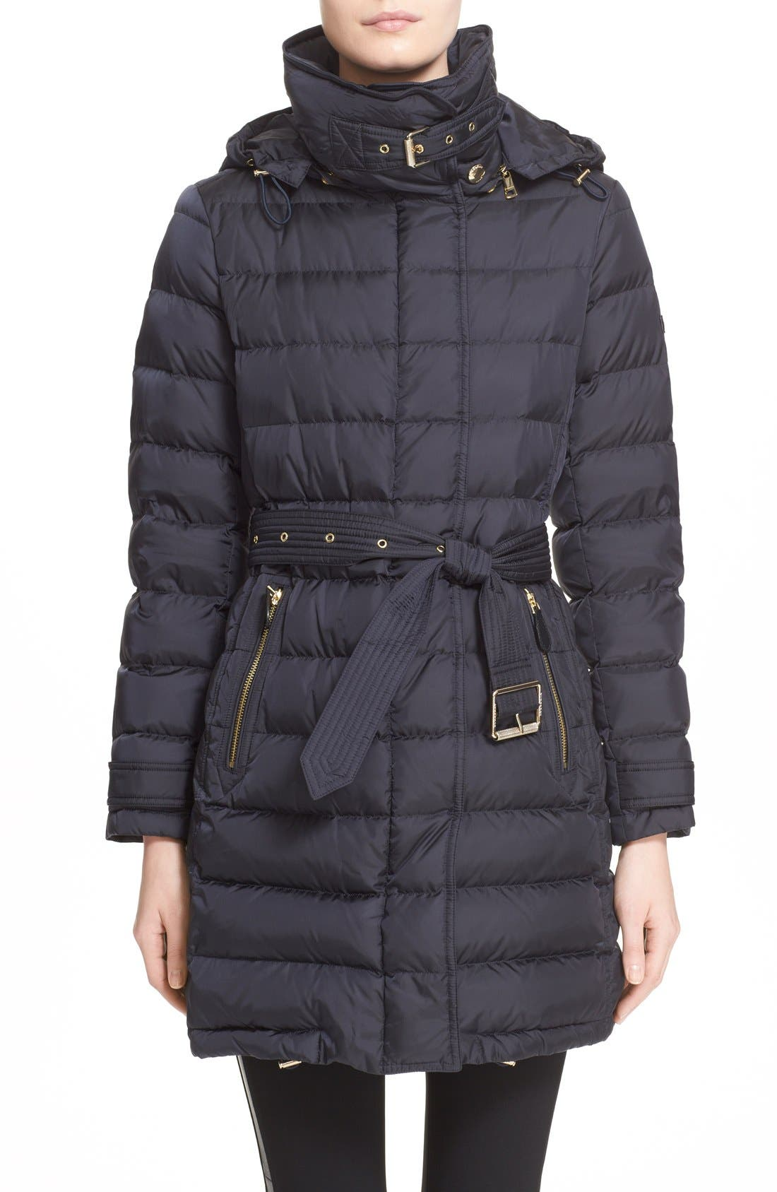 Main Image - Burberry Brit 'Winterleigh' Belted Down Coat