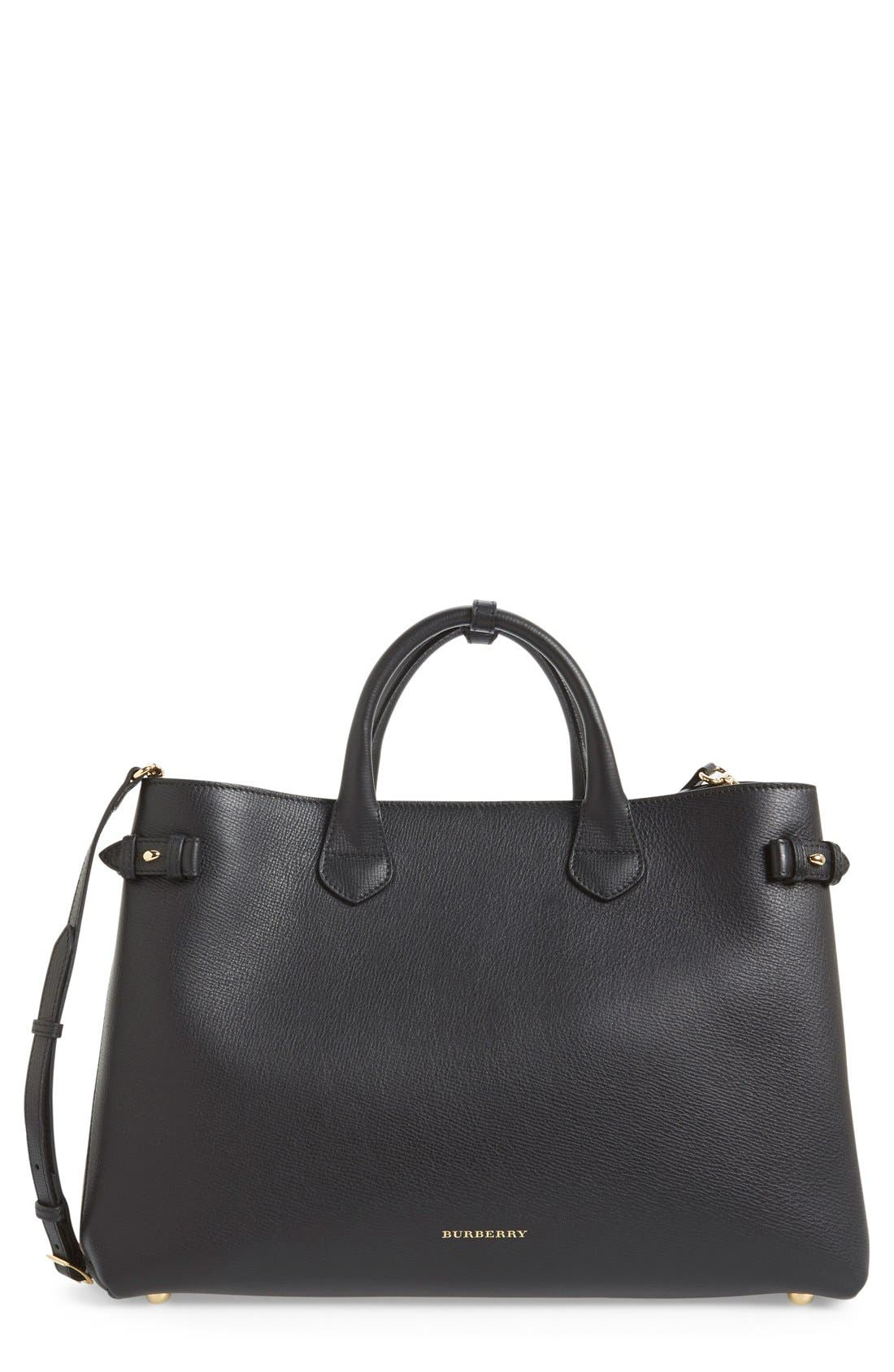 Burberry 'Large Banner' House Check Leather Tote