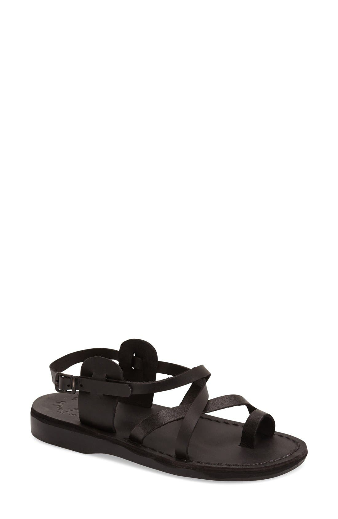 'The Good Shepard' Strappy Sandal,                             Main thumbnail 1, color,                             Black Leather