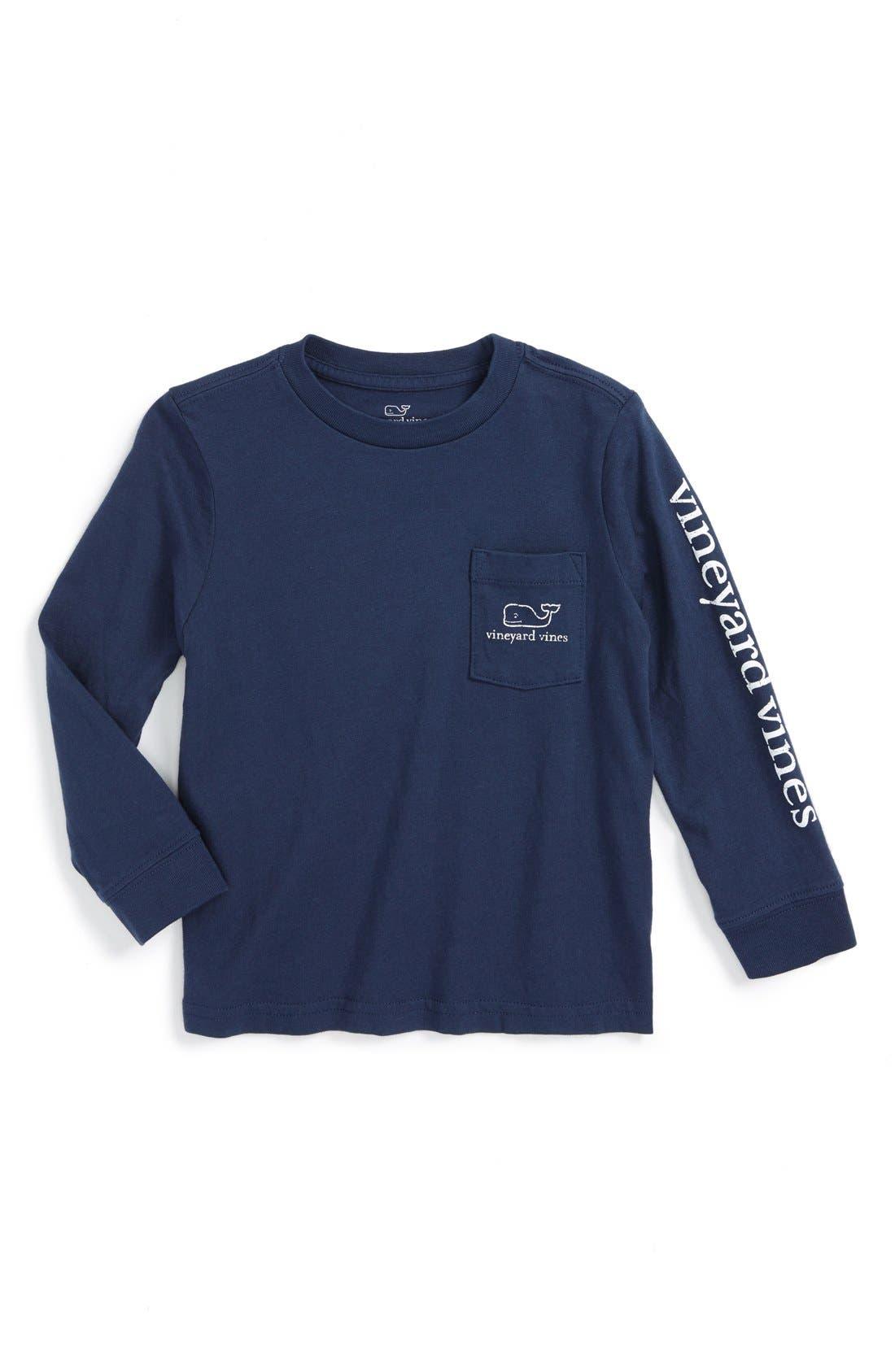 Vintage Whale Graphic Long Sleeve T-Shirt,                         Main,                         color, Blue Blazer