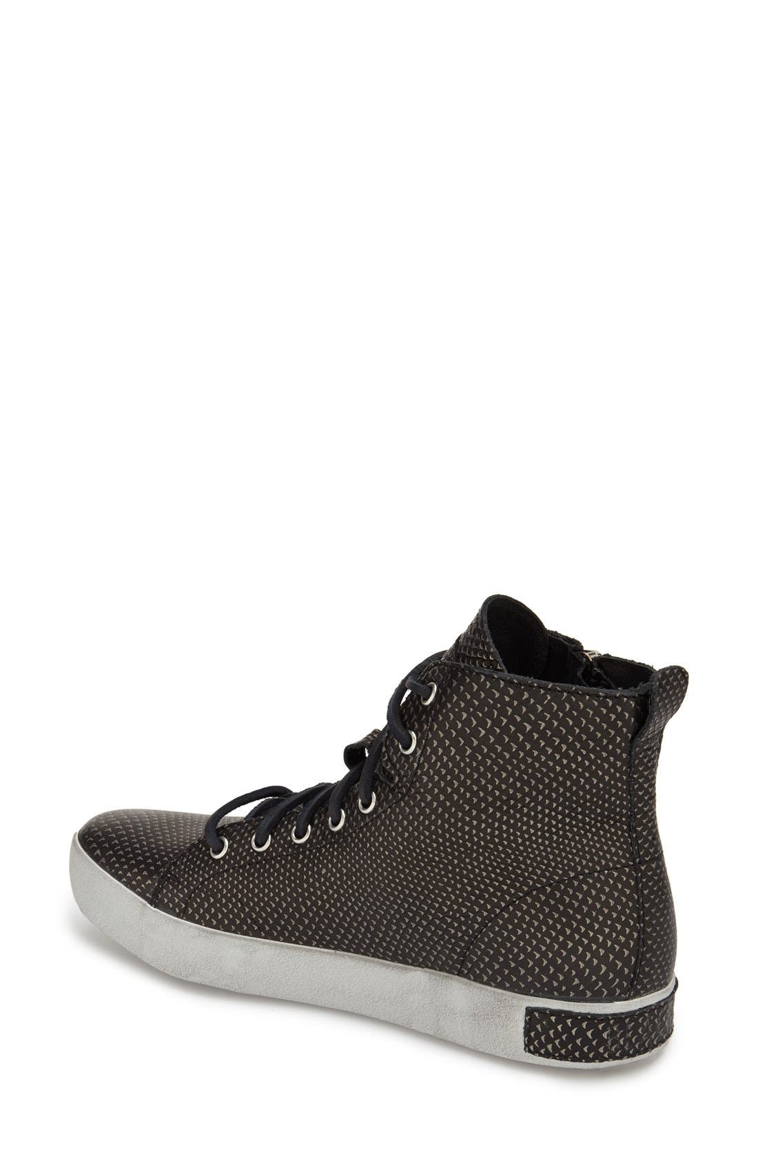 'KL57' High Top Sneaker,                             Alternate thumbnail 2, color,                             Black Metallic Leather
