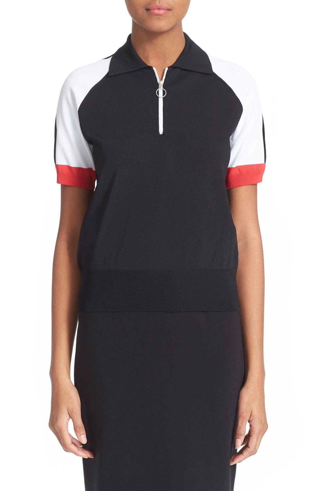 Colorblock Jersey Polo Top,                         Main,                         color, Black