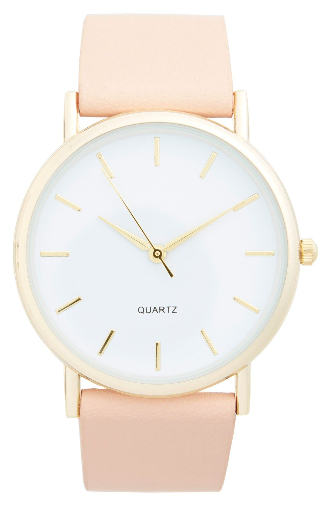 Round Face Faux Leather Strap Watch, 35mm,                         Main,                         color, Beige/ Gold