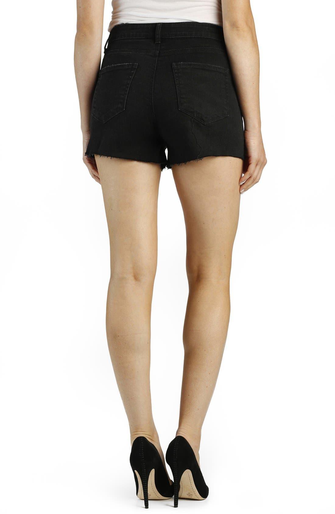'Margot' High Rise Cutoff Denim Shorts,                             Alternate thumbnail 2, color,                             Vintage Black