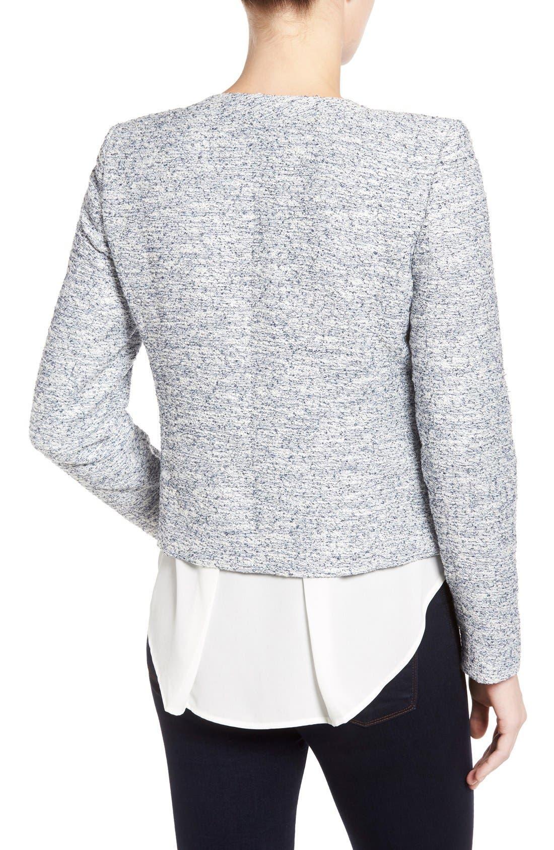 Alternate Image 2  - Halogen® Zip Front Collarless Jacket (Regular & Petite)