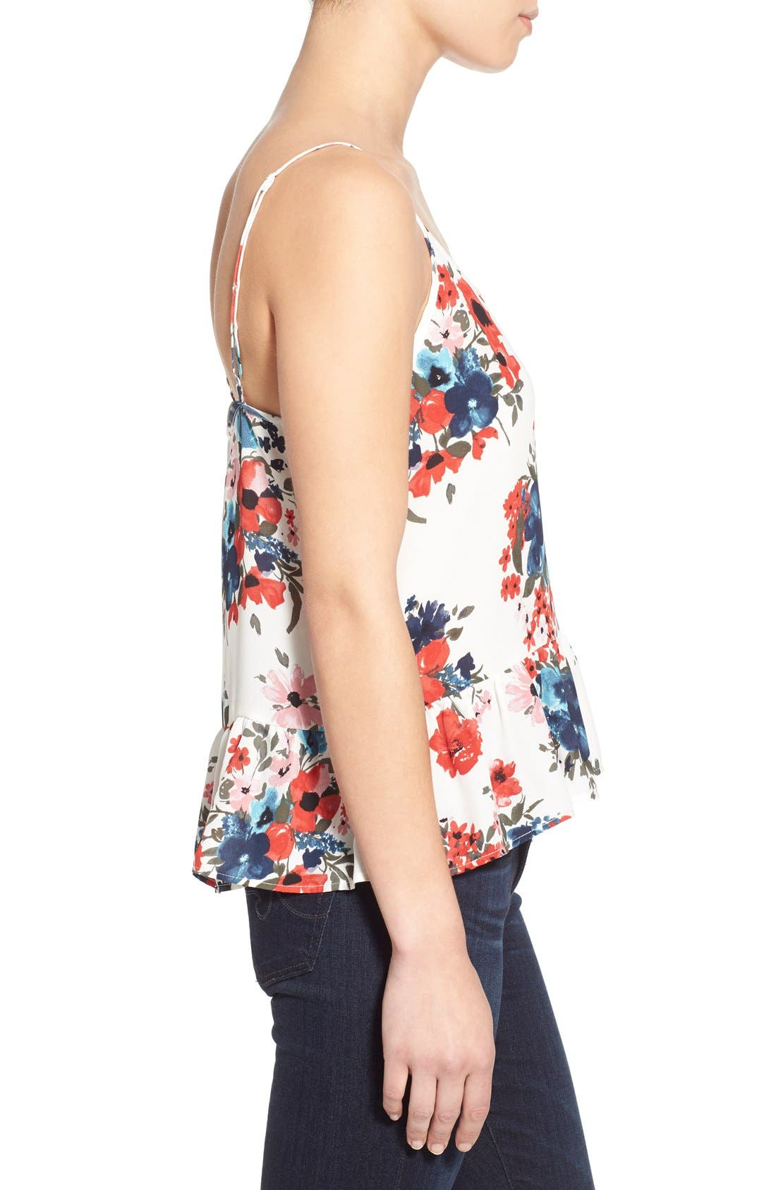 Alternate Image 3  - cupcakes and cashmere 'Blushing Floral' Peplum Tank