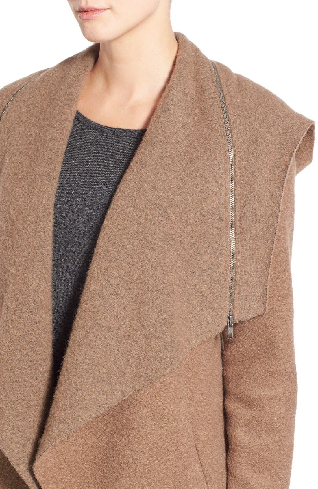 Alternate Image 4  - BB Dakota 'Hudson' Zip Detail Hooded Drape Front Coat
