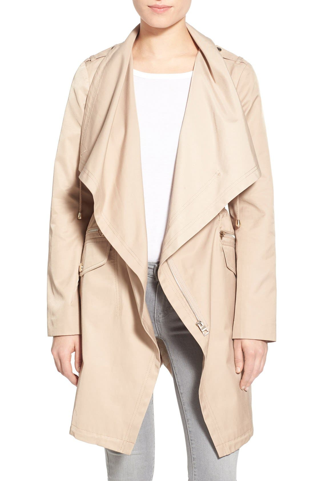 Main Image - GUESS Draped Asymmetrical Zip Anorak
