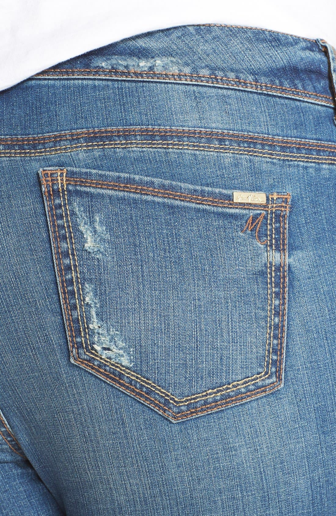 Alternate Image 4  - Melissa McCarthy Seven7 Distressed Pencil Leg Jeans (Nantucket) (Plus Size)