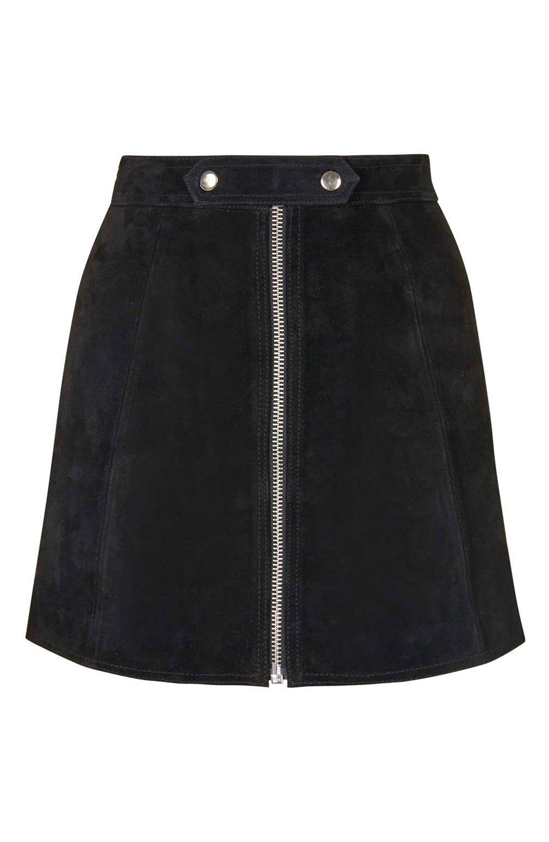 Alternate Image 4  - Topshop Button Tab Suede Skirt