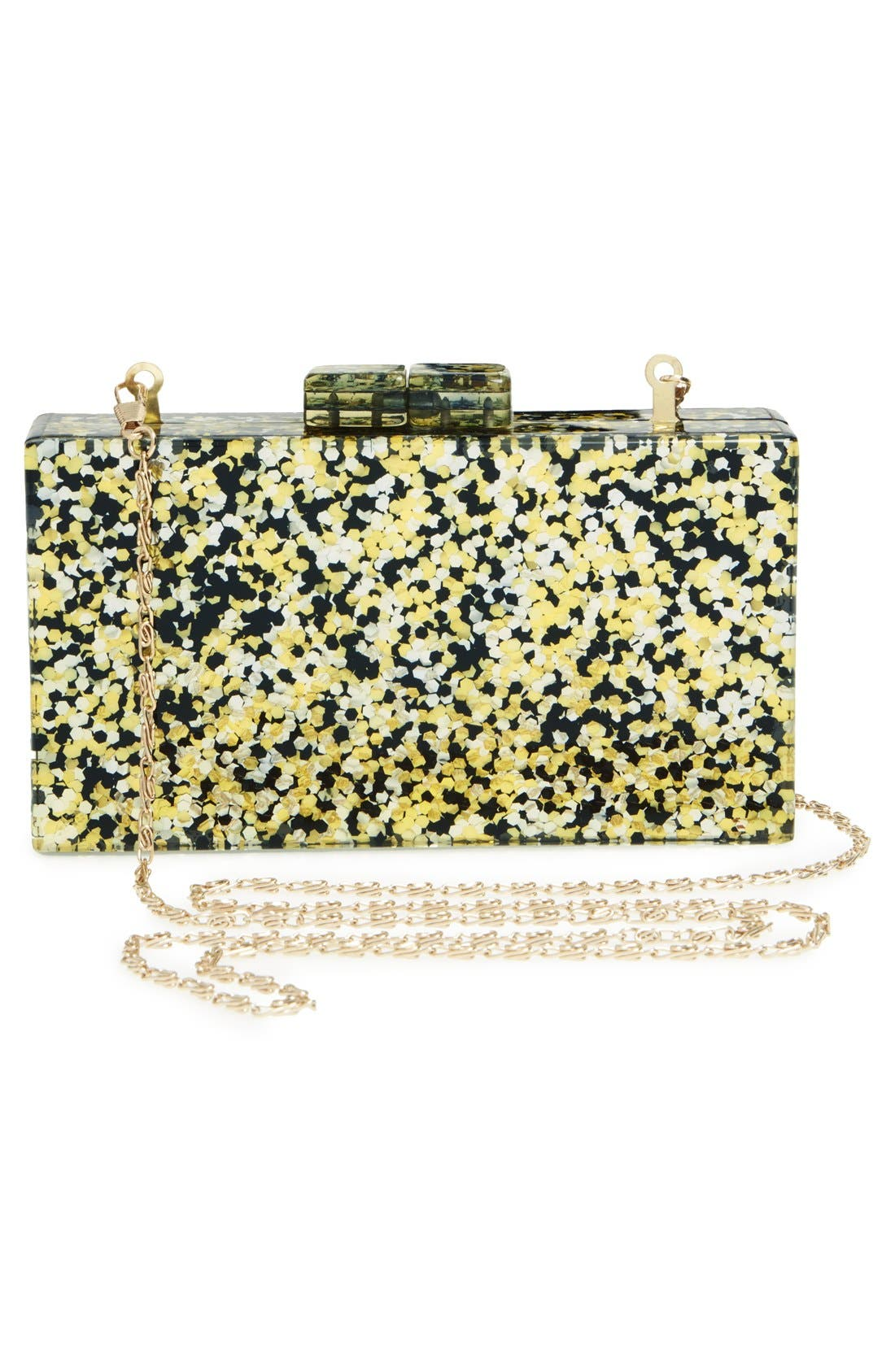 Couture Box Clutch,                             Alternate thumbnail 3, color,                             Black/ Gold