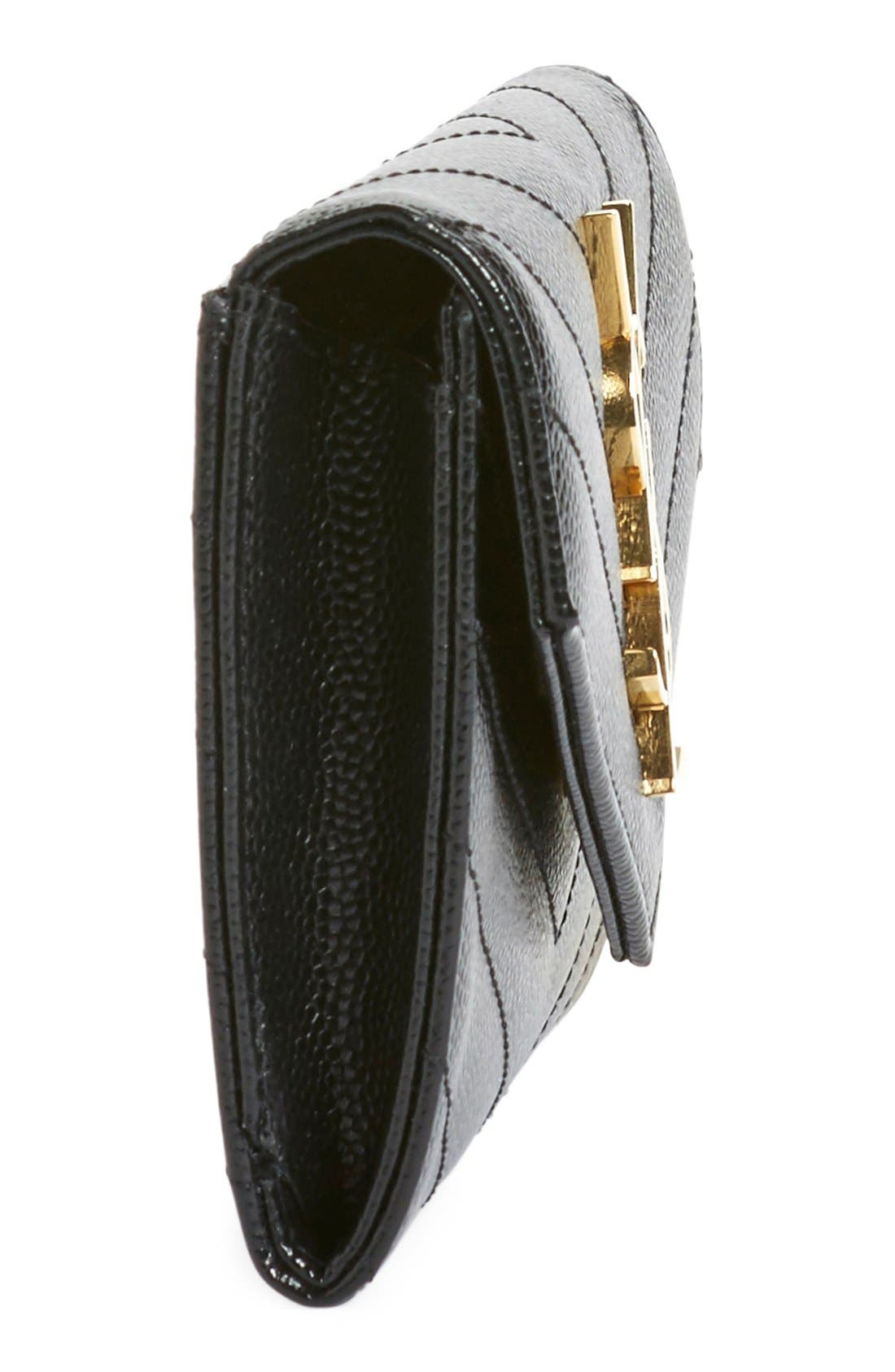 'Monogram' Quilted Leather French Wallet,                             Alternate thumbnail 6, color,                             Noir