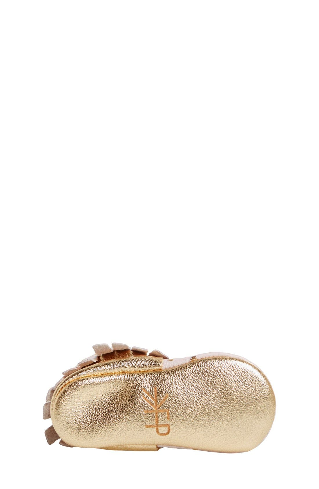Leather Moccasin,                             Alternate thumbnail 4, color,                             Heirloom Blush And Gold