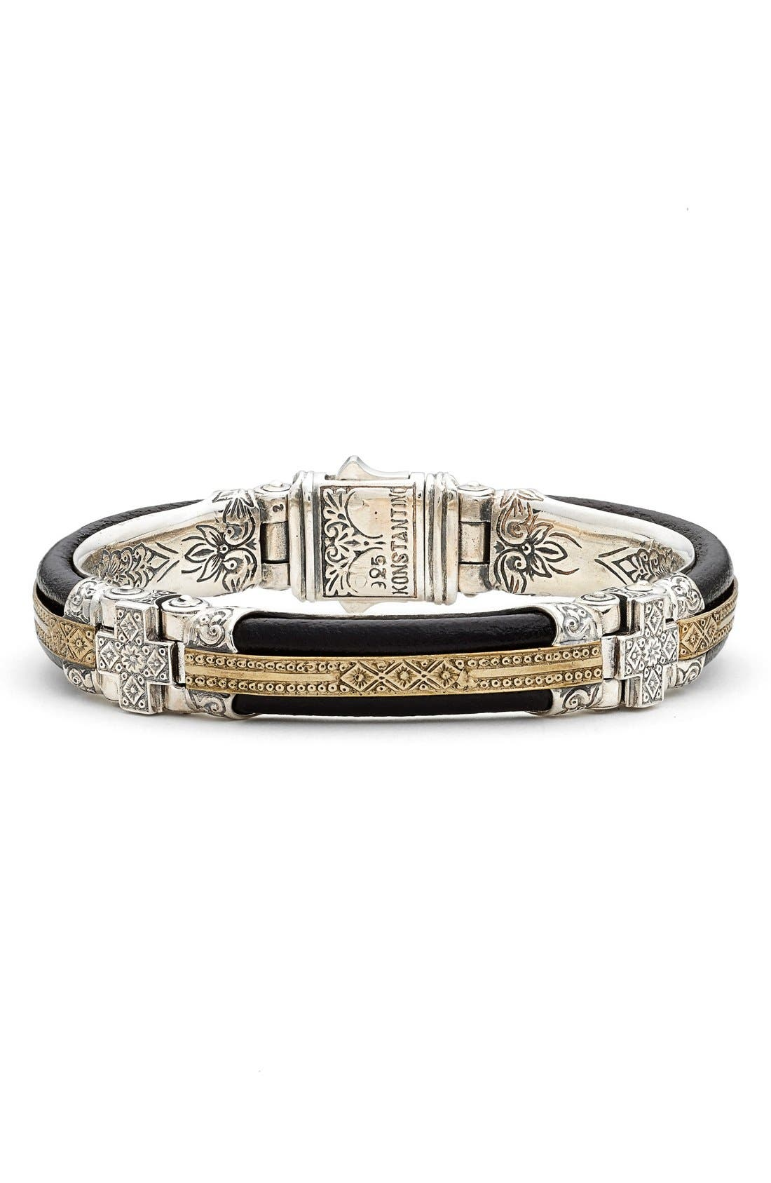 Byzantium Etched Sterling Silver Bracelet,                         Main,                         color, Black