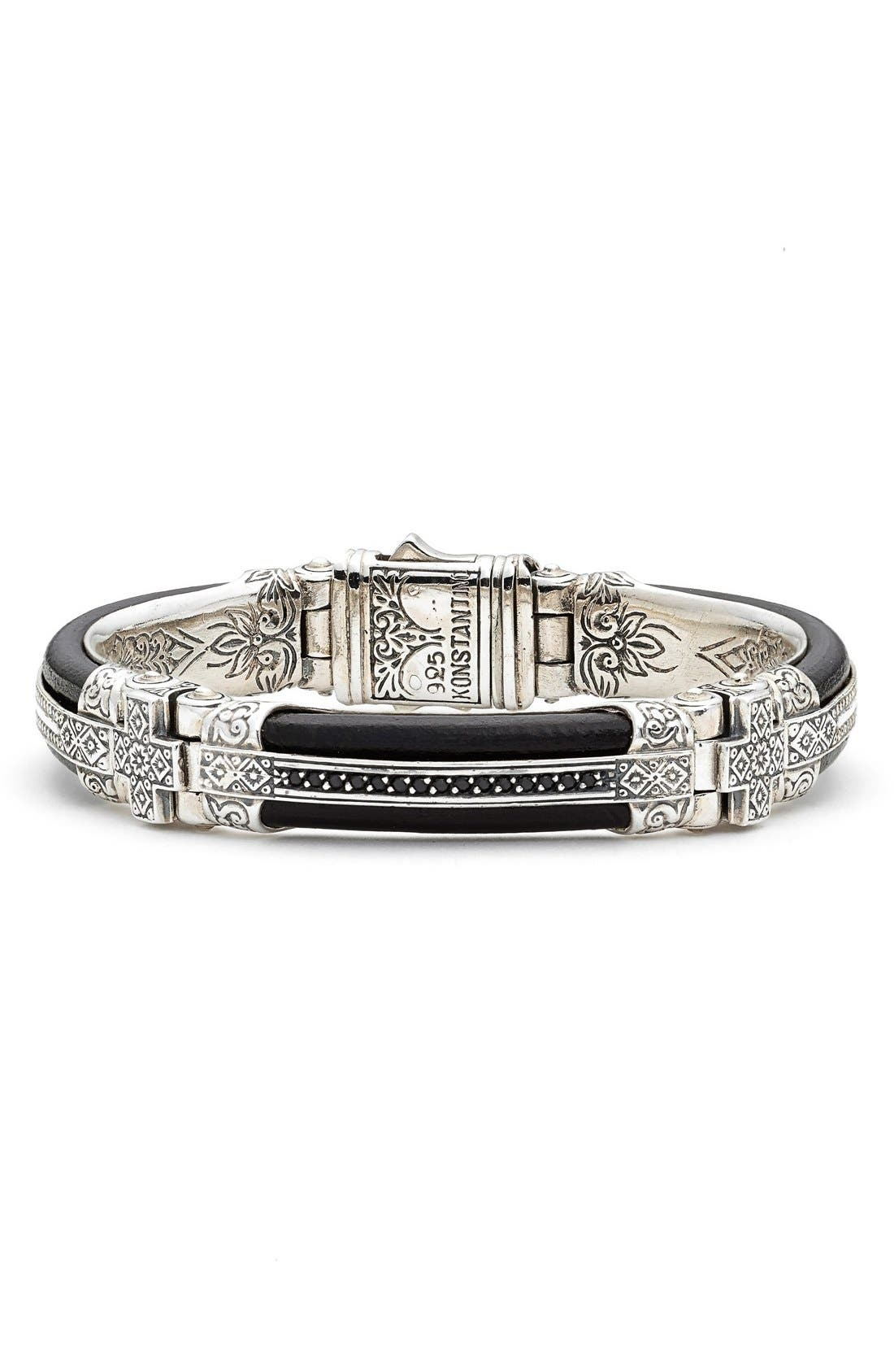 Plato Etched Sterling Silver & Leather Bracelet,                             Main thumbnail 1, color,                             Silver