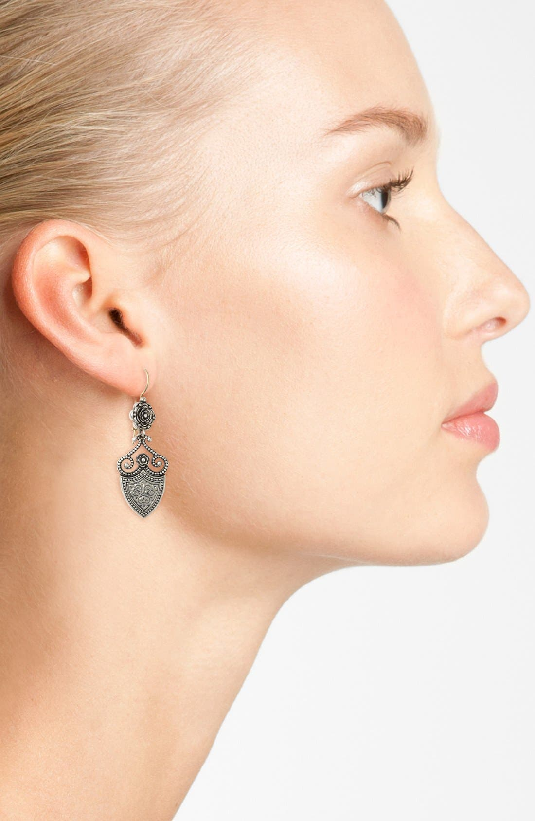 'Silver Classics' Shield Drop Earrings,                             Alternate thumbnail 2, color,                             Silver