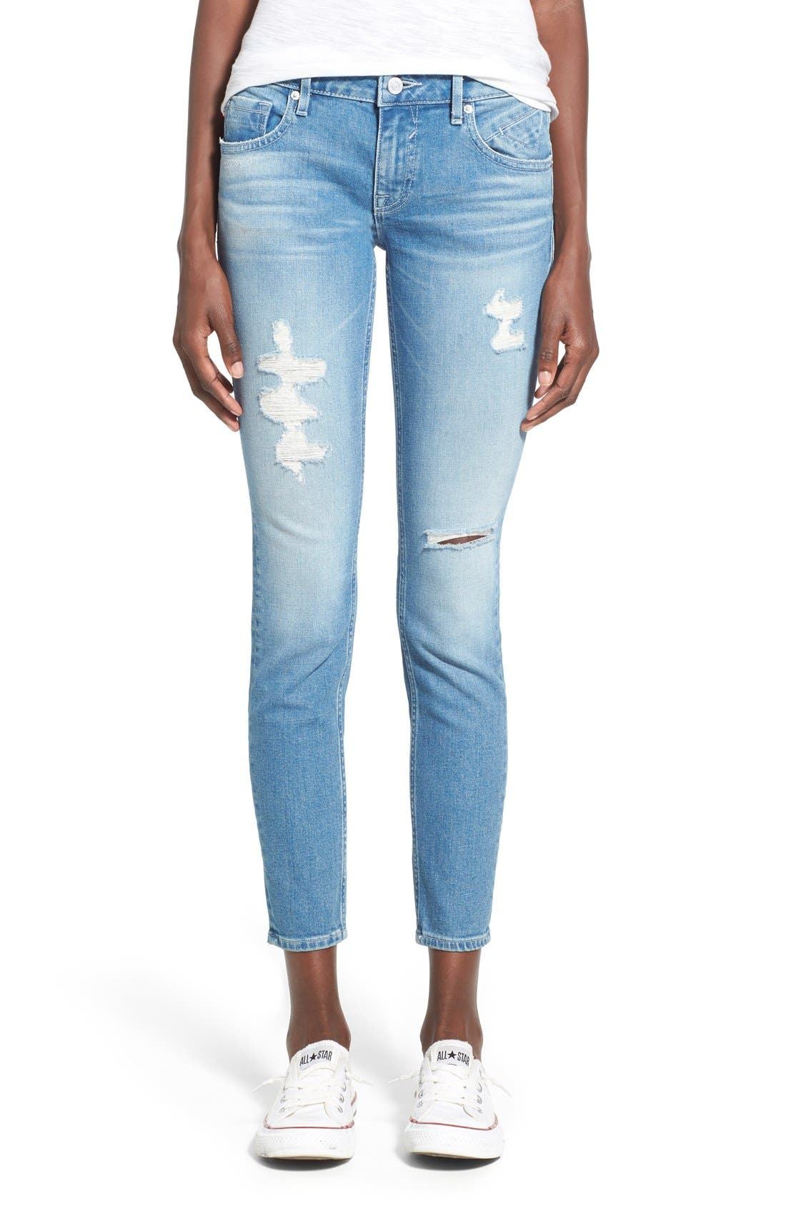 Main Image - Vigoss 'Chelsea' Super Skinny Jeans (Light Wash)