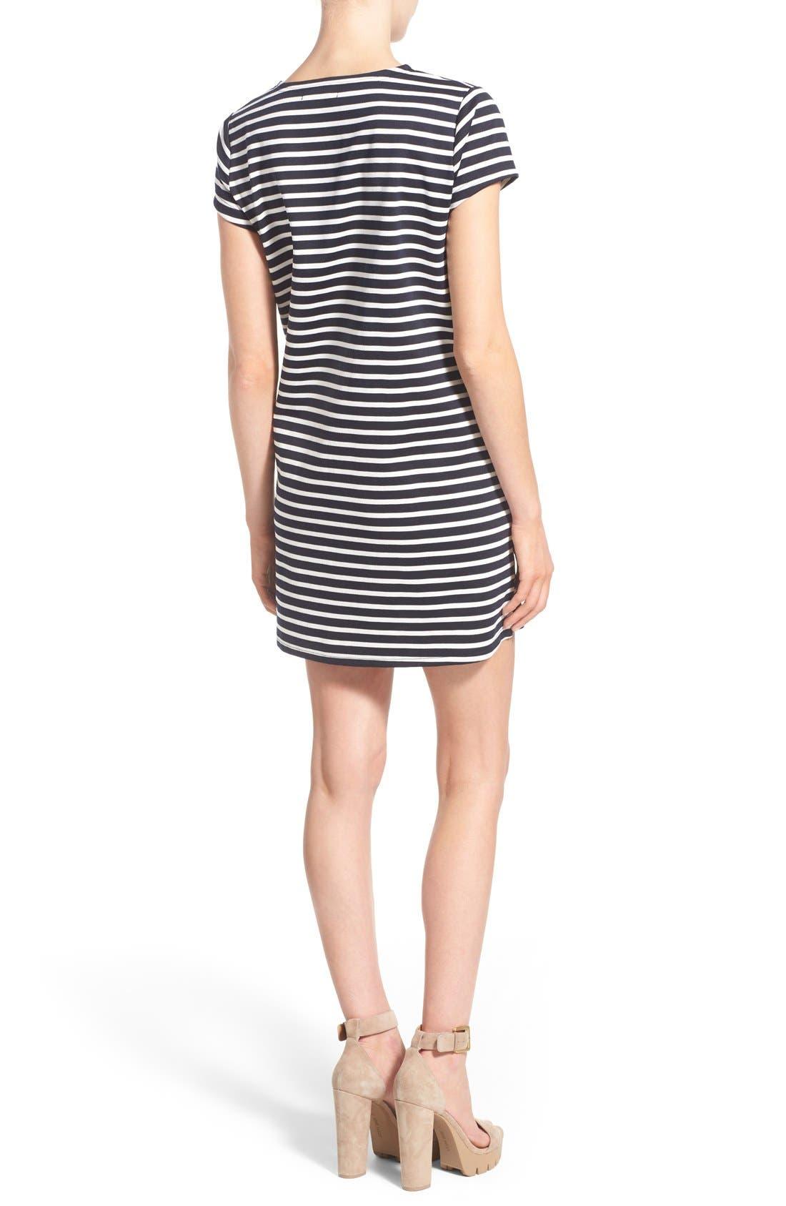 Alternate Image 2  - Missguided Stripe Short Sleeve Shift Dress