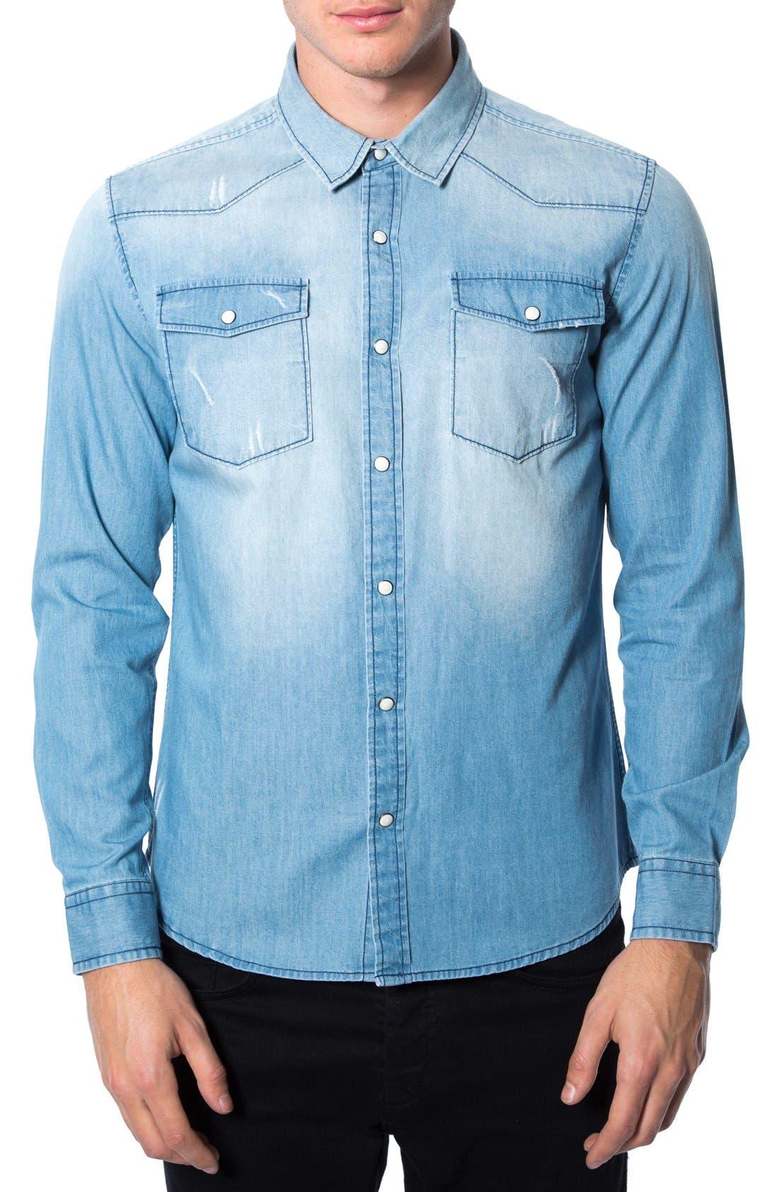 'Beyond Me' Trim Fit Chambray Shirt,                         Main,                         color, Blue