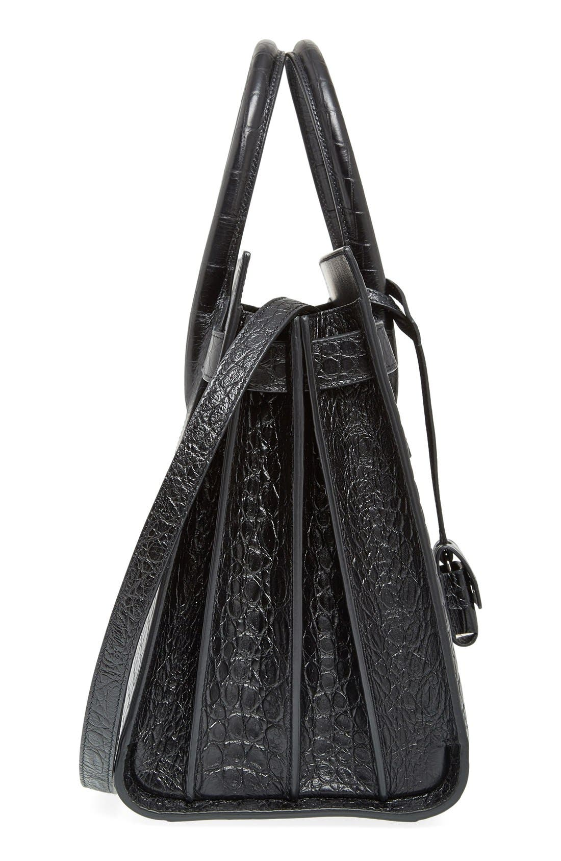 'Small Sac de Jour' Croc Embossed Leather Tote,                             Alternate thumbnail 5, color,                             Noir