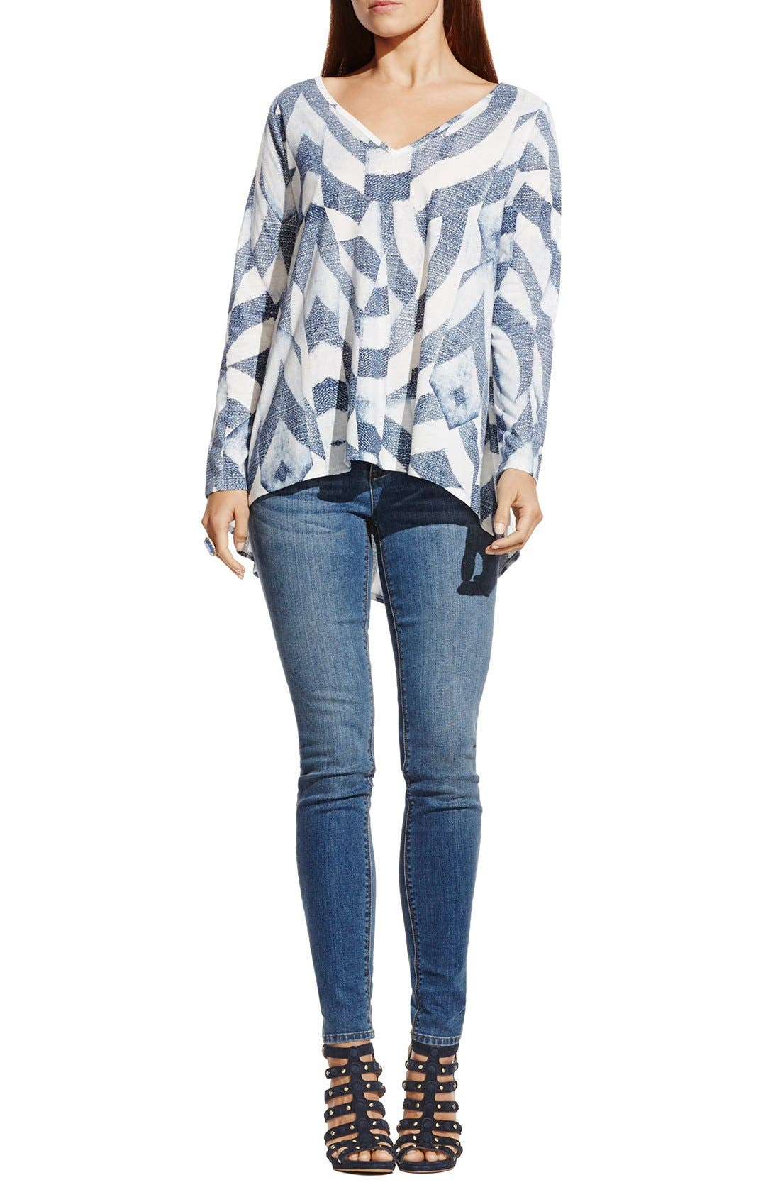 Alternate Image 2  - Two by Vince Camuto 'Broken Maze' Print High/Low V-Neck Tunic