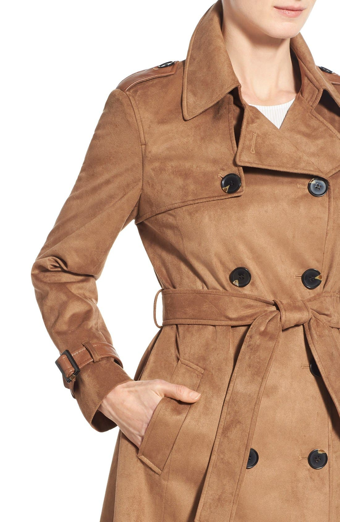 Alternate Image 4  - Via Spiga Double Breasted Faux Suede Trench Coat