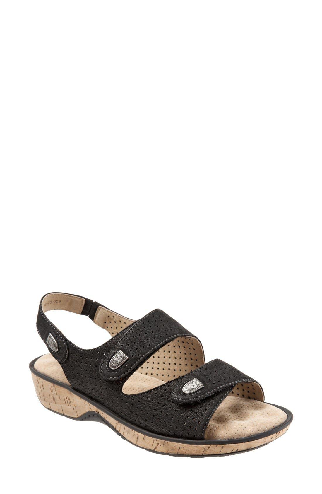 'Bolivia' Sandal,                             Main thumbnail 1, color,                             Black Perforated Leather