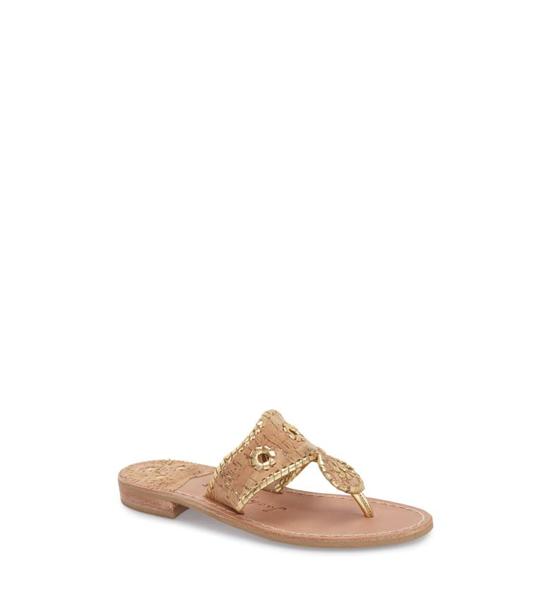 Whipstitched Flip Flop,                         Main,                         color, Cork/ Gold