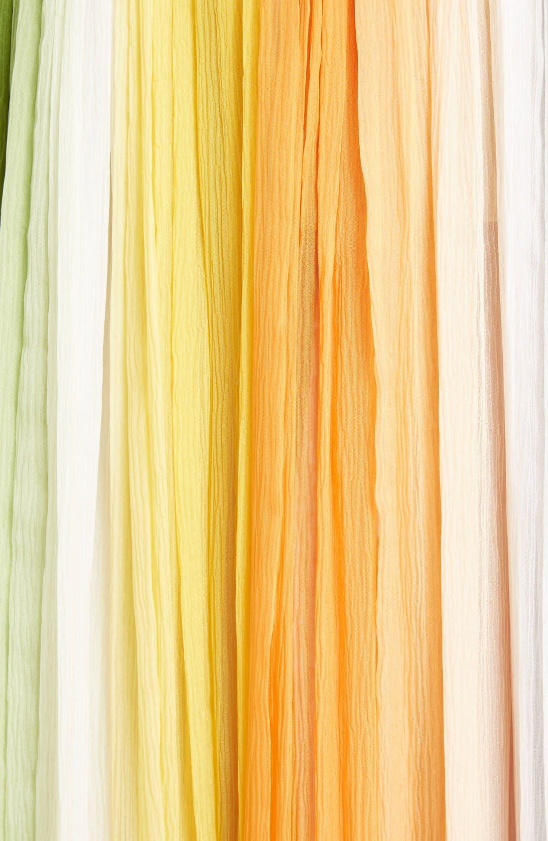 Stripe Pleated Silk Skirt with Tassels,                             Alternate thumbnail 4, color,                             Orange/ Green