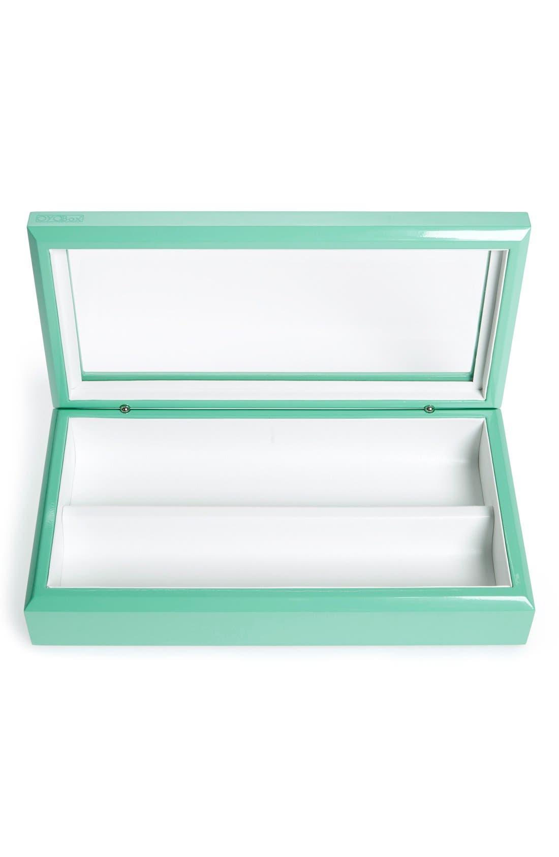 Lacquered Wood Window Top Eyewear Organizer Case,                             Alternate thumbnail 4, color,                             Aqua