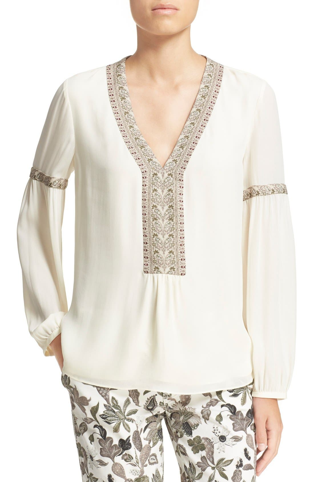 Alternate Image 1 Selected - Tory Burch V-Neck Silk Peasant Top