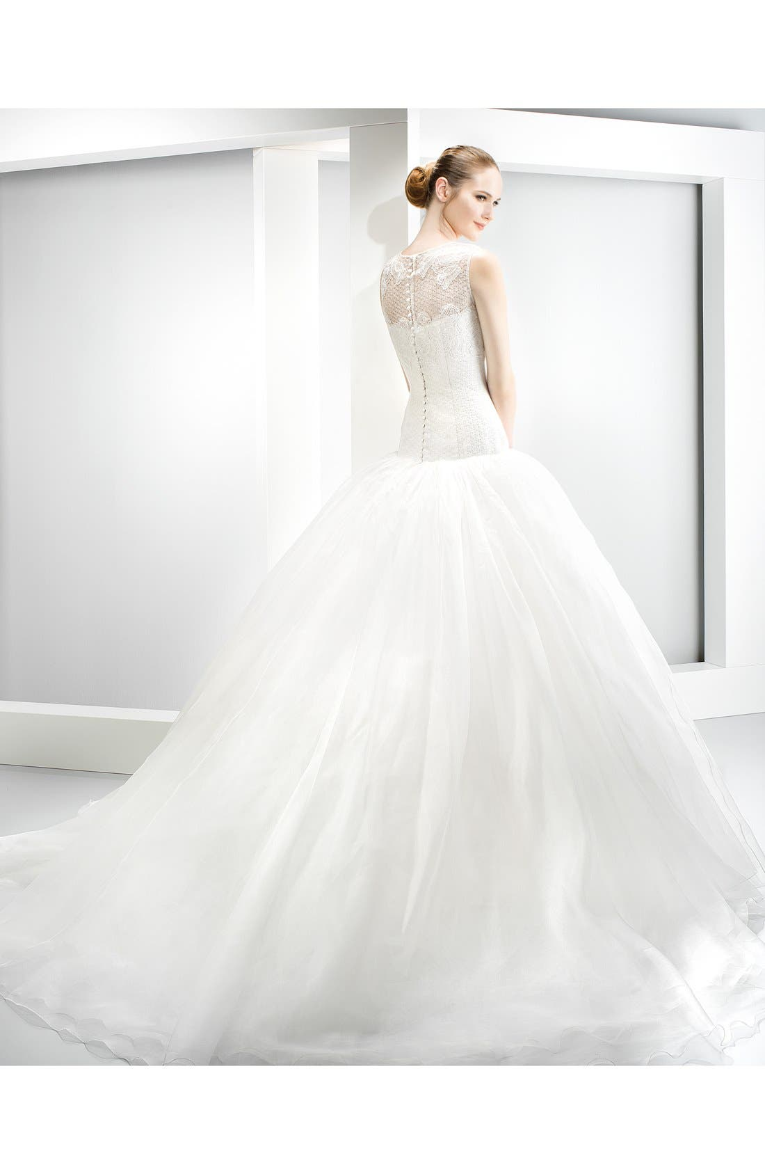 Embroidered Bodice Organza Drop Waist Gown,                             Alternate thumbnail 2, color,                             Ivory