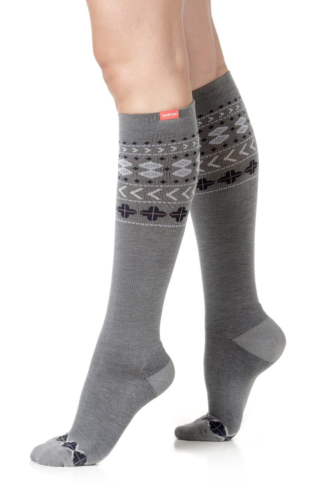 Main Image - VIM & VIGR Fair Isle Compression Knee Socks