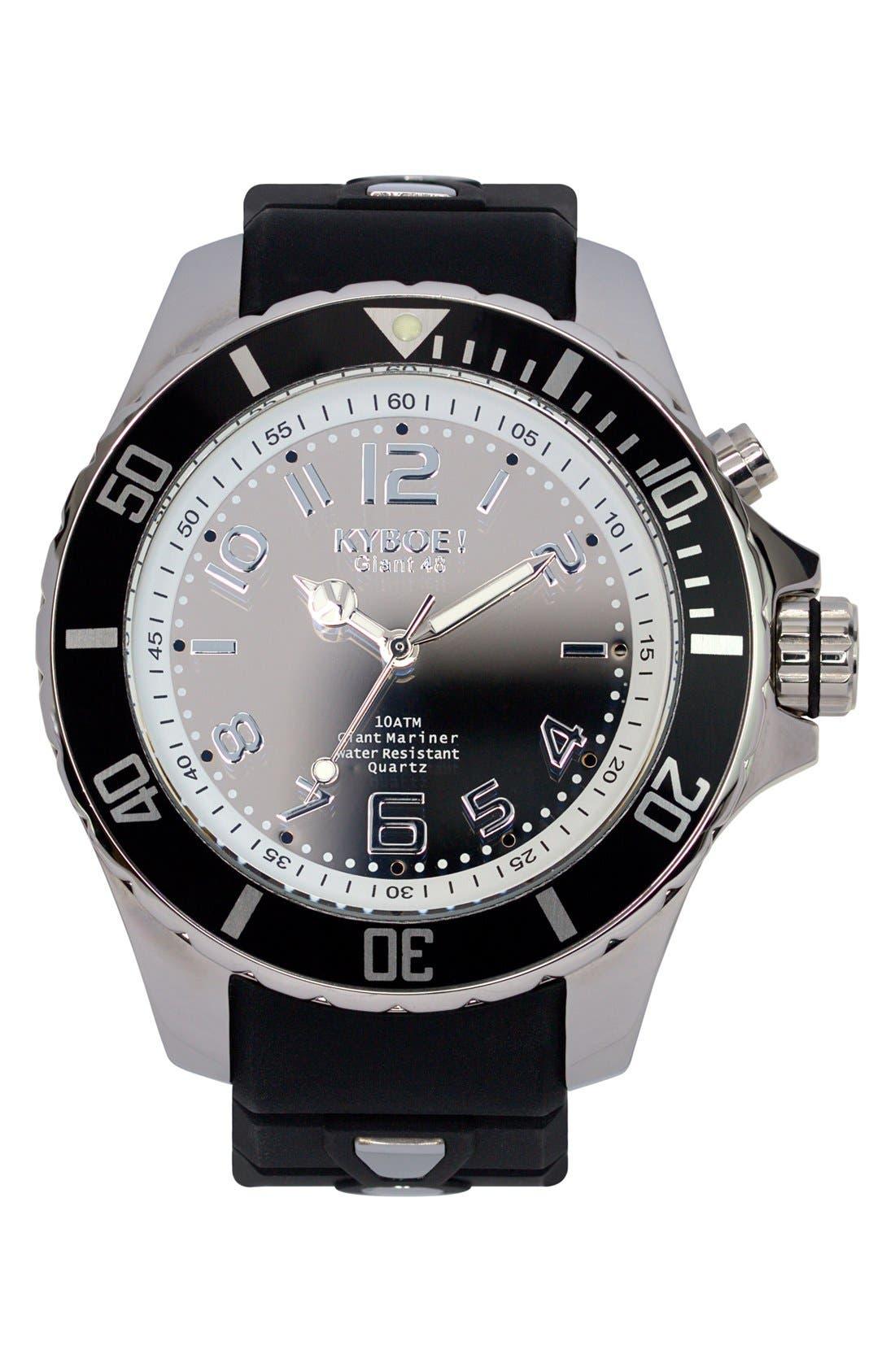 Silicone Strap Watch, 48mm,                         Main,                         color, Black/ Mirror