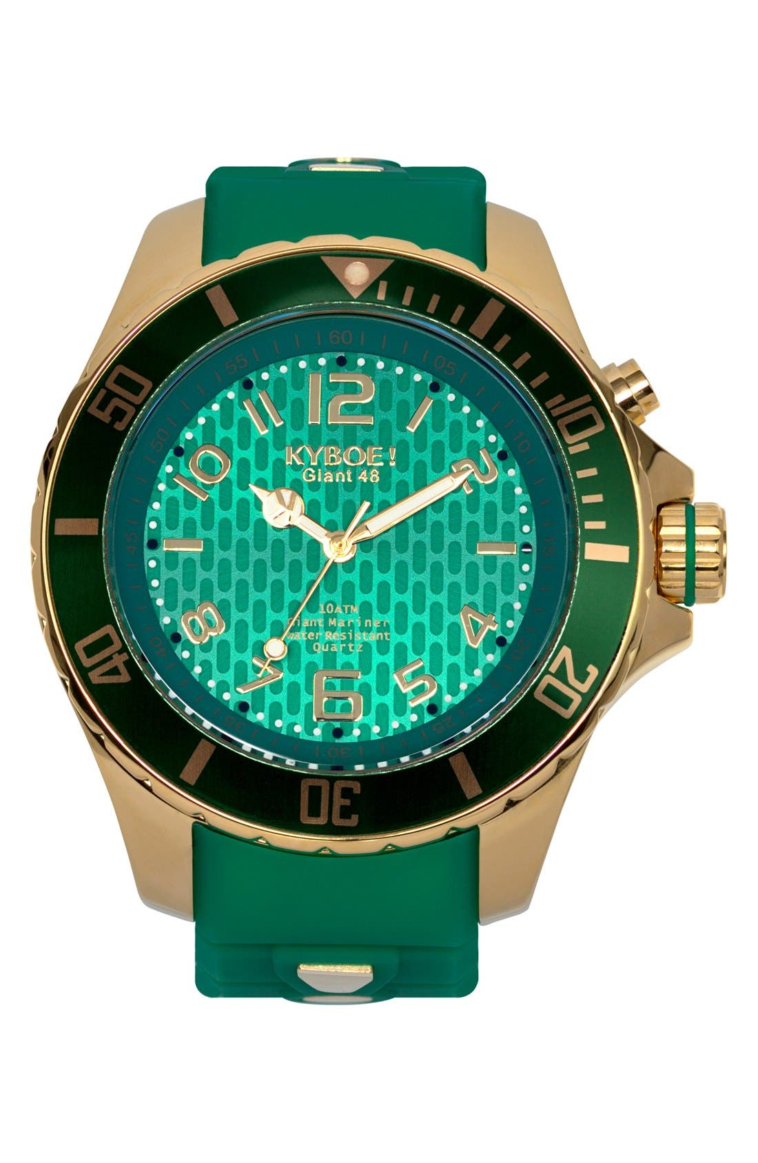 'Emerald' Silicone Strap Watch, 48mm,                             Main thumbnail 1, color,                             Emerald/ Gold