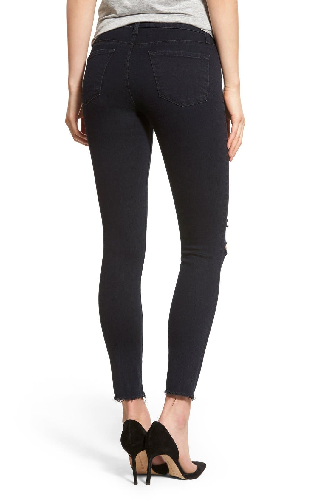 Alternate Image 2  - J Brand Destroyed Crop Skinny Jeans (Blue Mercy)