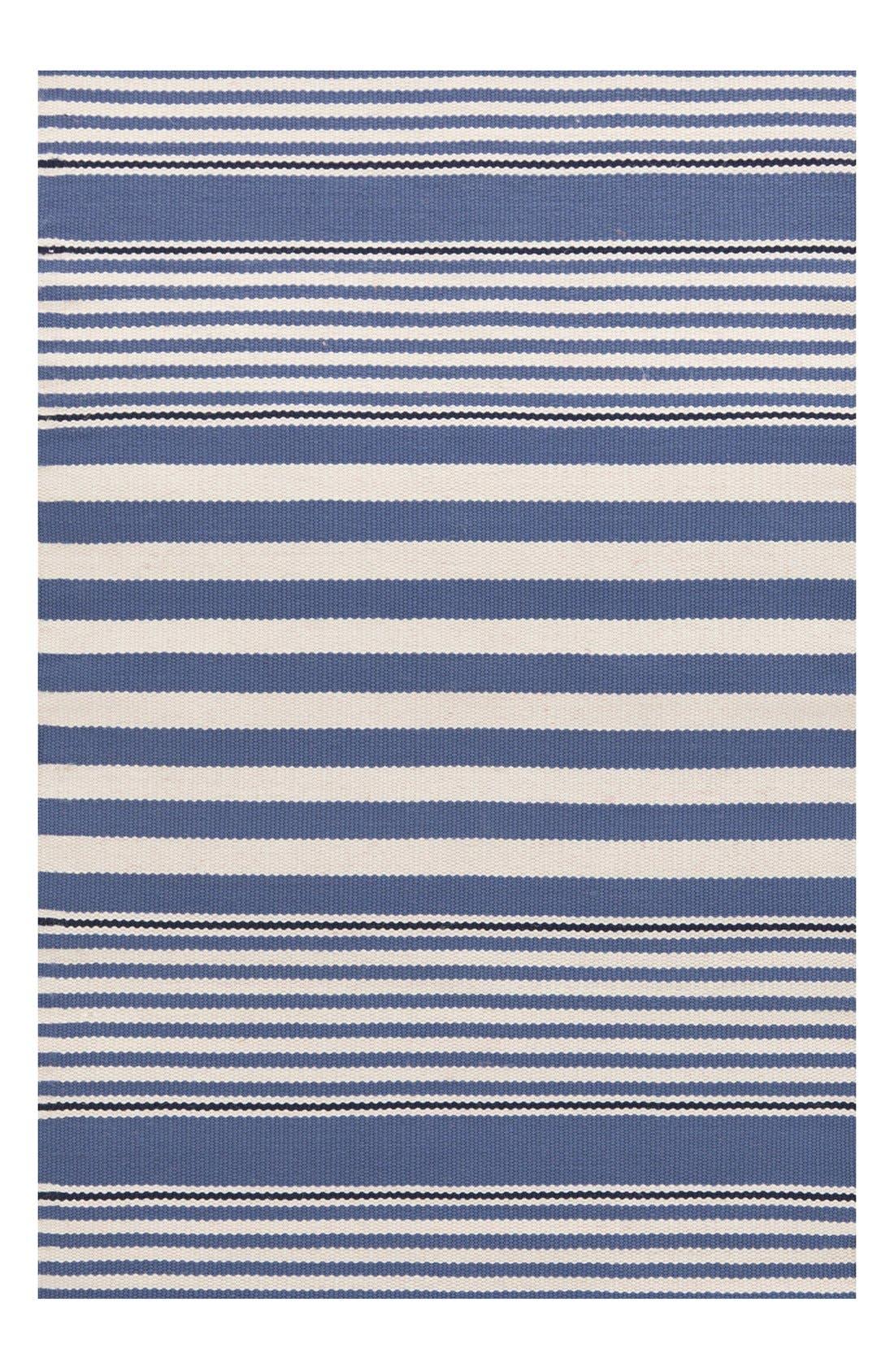 'Rugby Stripe' Indoor/Outdoor Rug,                         Main,                         color, Denim