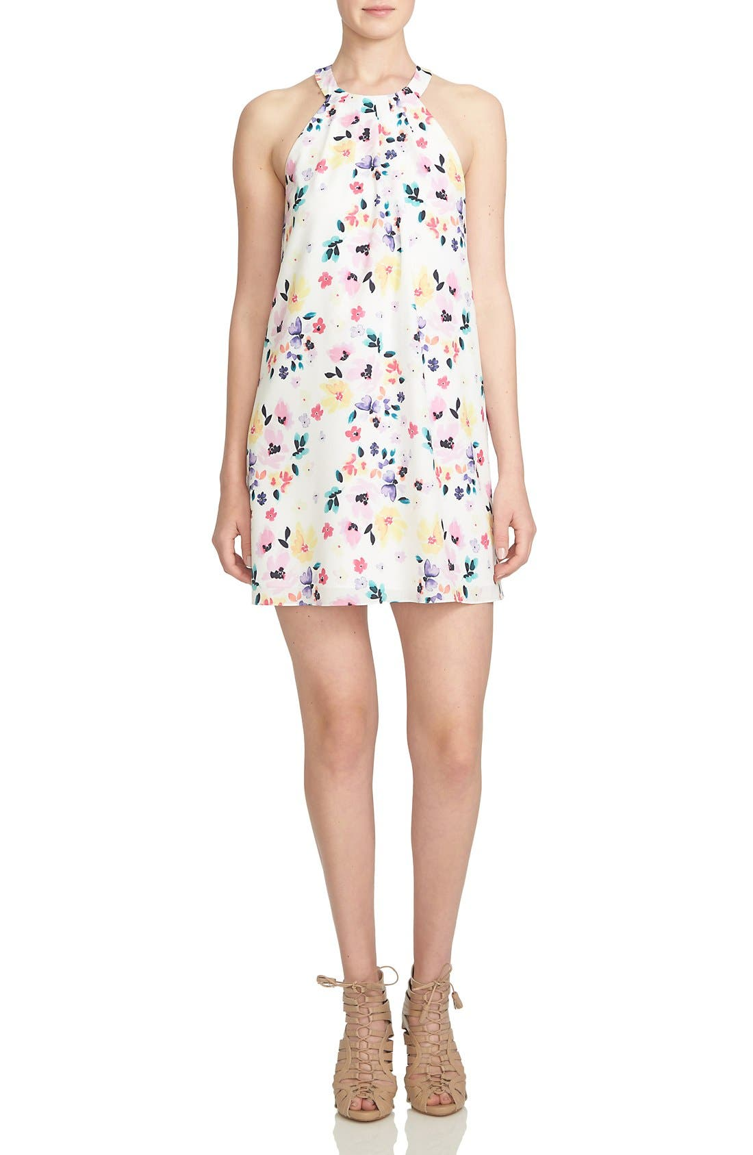 Main Image - CeCe by Cynthia Steffe 'Demure Floral' Print Sleeveless Shift Dress