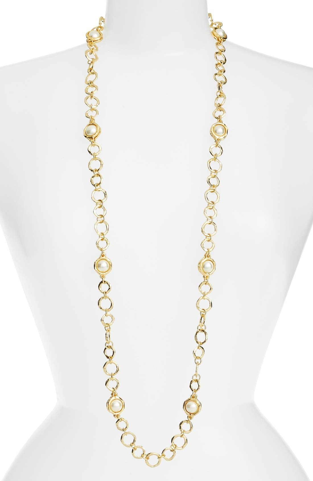 Long Imitation Pearl Necklace,                         Main,                         color, Gold